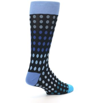 Image of Black Blues Polka Dot Men's Dress Sock (side-1-back-22)
