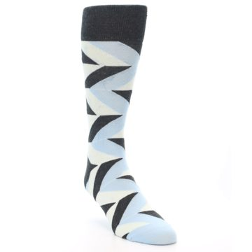 Image of Grey Light Blue Angle Stripes Men's Dress Sock (side-1-front-02)