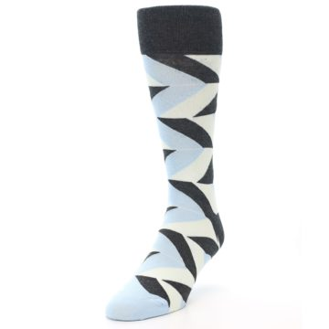 Image of Grey Light Blue Angle Stripes Men's Dress Sock (side-2-front-07)