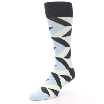 Image of Grey Light Blue Angle Stripes Men's Dress Sock (side-2-front-08)