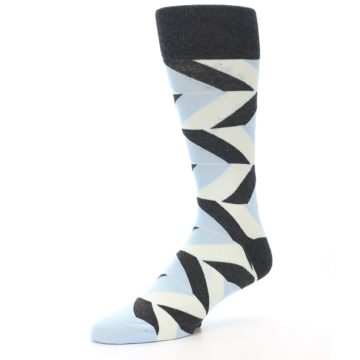 Image of Grey Light Blue Angle Stripes Men's Dress Sock (side-2-09)