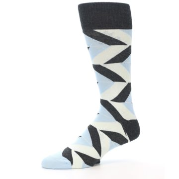 Image of Grey Light Blue Angle Stripes Men's Dress Sock (side-2-10)