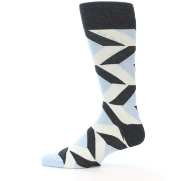 Image of Grey Light Blue Angle Stripes Men's Dress Sock (side-2-12)