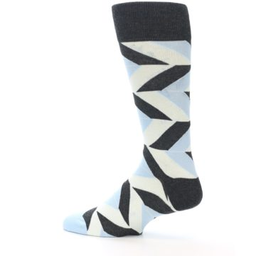 Image of Grey Light Blue Angle Stripes Men's Dress Sock (side-2-13)