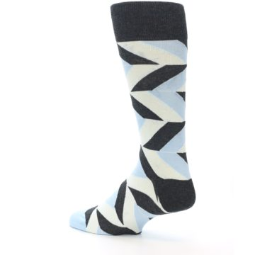 Image of Grey Light Blue Angle Stripes Men's Dress Sock (side-2-back-14)