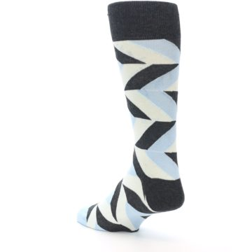 Image of Grey Light Blue Angle Stripes Men's Dress Sock (side-2-back-15)
