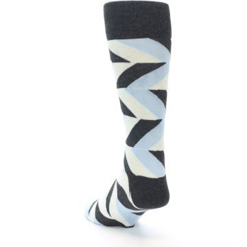 Image of Grey Light Blue Angle Stripes Men's Dress Sock (side-2-back-16)