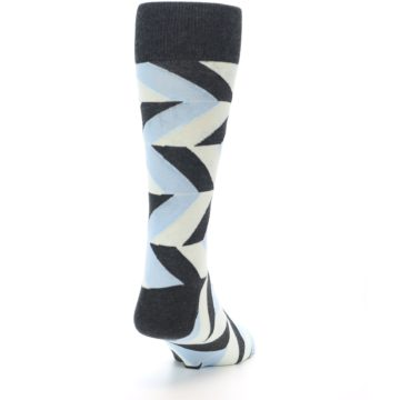 Image of Grey Light Blue Angle Stripes Men's Dress Sock (side-1-back-20)