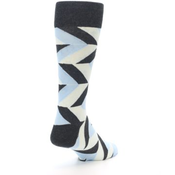 Image of Grey Light Blue Angle Stripes Men's Dress Sock (side-1-back-21)