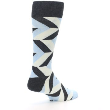 Image of Grey Light Blue Angle Stripes Men's Dress Sock (side-1-back-22)