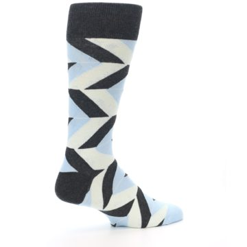 Image of Grey Light Blue Angle Stripes Men's Dress Sock (side-1-23)