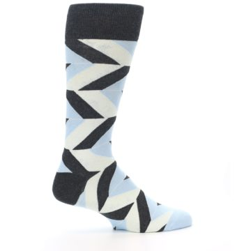 Image of Grey Light Blue Angle Stripes Men's Dress Sock (side-1-24)