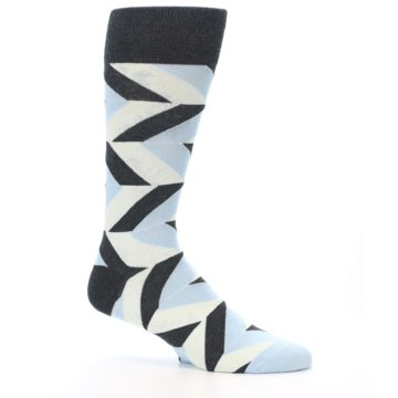 Image of Grey Light Blue Angle Stripes Men's Dress Sock (side-1-25)