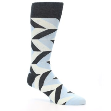 Image of Grey Light Blue Angle Stripes Men's Dress Sock (side-1-26)