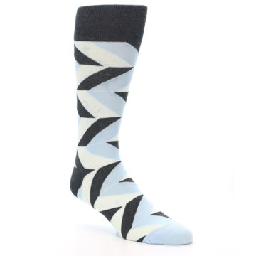 Image of Grey Light Blue Angle Stripes Men's Dress Sock (side-1-27)
