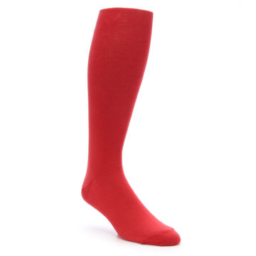 Image of Red Solid Men's Over-the-Calf Dress Socks (side-1-front-01)