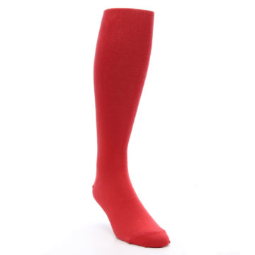 Image of Red Solid Men's Over-the-Calf Dress Socks (side-1-front-02)