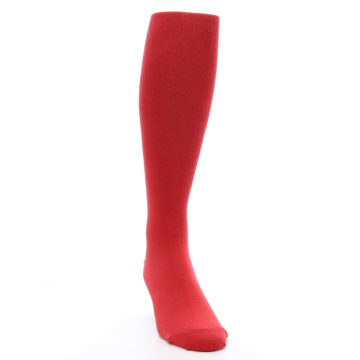 Image of Red Solid Men's Over-the-Calf Dress Socks (side-1-front-03)