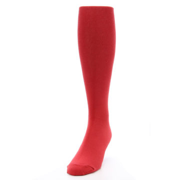 Image of Red Solid Men's Over-the-Calf Dress Socks (side-2-front-06)