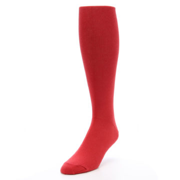 Image of Red Solid Men's Over-the-Calf Dress Socks (side-2-front-07)