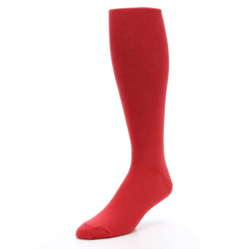 Image of Red Solid Men's Over-the-Calf Dress Socks (side-2-front-08)