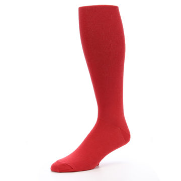 Image of Red Solid Men's Over-the-Calf Dress Socks (side-2-09)