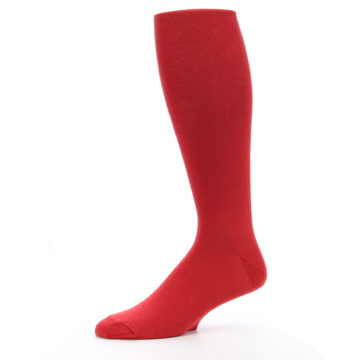 Image of Red Solid Men's Over-the-Calf Dress Socks (side-2-10)