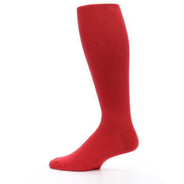 Image of Red Solid Men's Over-the-Calf Dress Socks (side-2-12)