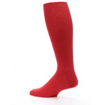 Image of Red Solid Men's Over-the-Calf Dress Socks (side-2-13)