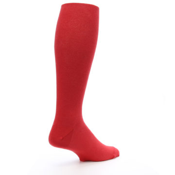 Image of Red Solid Men's Over-the-Calf Dress Socks (side-1-back-22)