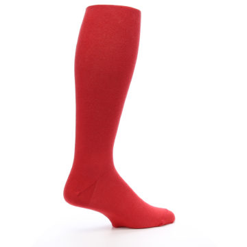 Image of Red Solid Men's Over-the-Calf Dress Socks (side-1-23)