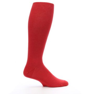Image of Red Solid Men's Over-the-Calf Dress Socks (side-1-24)