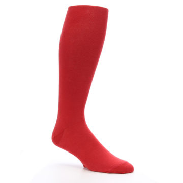 Image of Red Solid Men's Over-the-Calf Dress Socks (side-1-26)