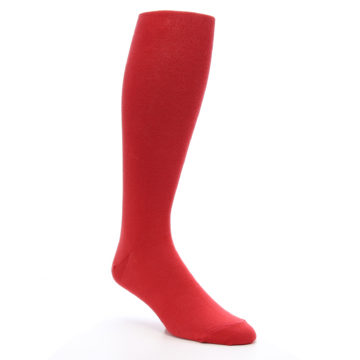 Image of Red Solid Men's Over-the-Calf Dress Socks (side-1-27)