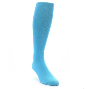 Image of Malibu Blue Solid Men's Over-the-Calf Dress Socks (side-1-front-02)