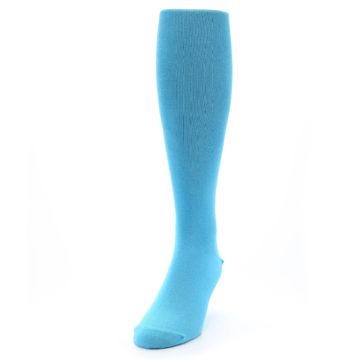 Image of Malibu Blue Solid Men's Over-the-Calf Dress Socks (side-2-front-06)