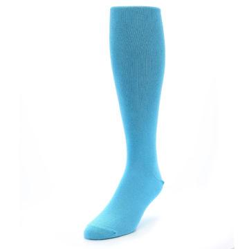 Image of Malibu Blue Solid Men's Over-the-Calf Dress Socks (side-2-front-07)