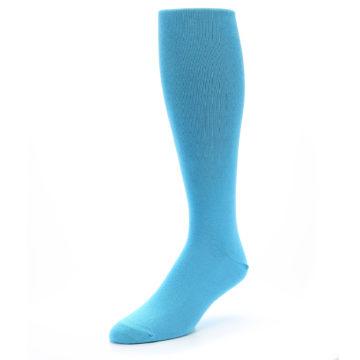 Image of Malibu Blue Solid Men's Over-the-Calf Dress Socks (side-2-front-08)