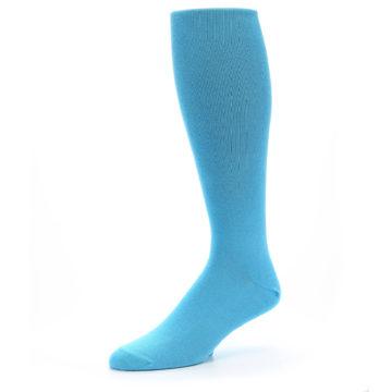 Image of Malibu Blue Solid Men's Over-the-Calf Dress Socks (side-2-09)