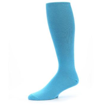 Image of Malibu Blue Solid Men's Over-the-Calf Dress Socks (side-2-10)