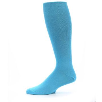 Image of Malibu Blue Solid Men's Over-the-Calf Dress Socks (side-2-11)