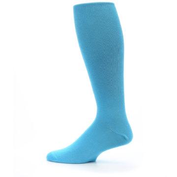 Image of Malibu Blue Solid Men's Over-the-Calf Dress Socks (side-2-12)