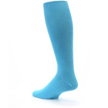 Image of Malibu Blue Solid Men's Over-the-Calf Dress Socks (side-2-back-14)