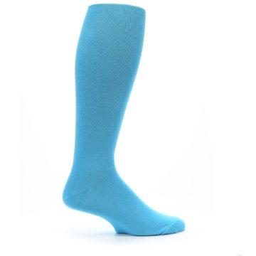 Image of Malibu Blue Solid Men's Over-the-Calf Dress Socks (side-1-24)