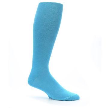 Image of Malibu Blue Solid Men's Over-the-Calf Dress Socks (side-1-25)
