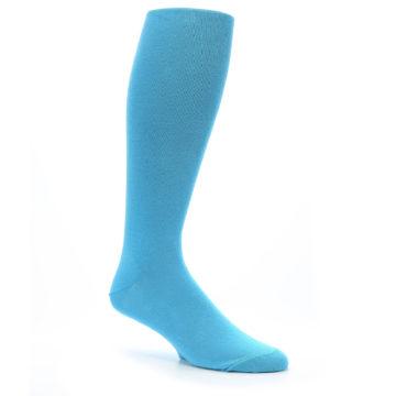 Image of Malibu Blue Solid Men's Over-the-Calf Dress Socks (side-1-26)