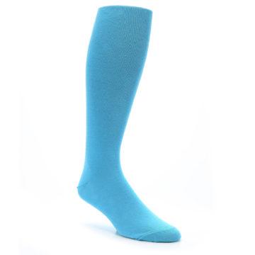 Image of Malibu Blue Solid Men's Over-the-Calf Dress Socks (side-1-27)