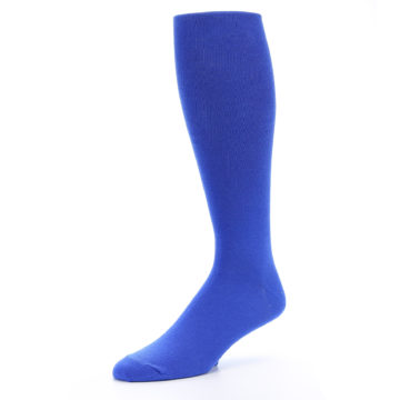Image of Royal Blue Solid Men's Over-the-Calf Dress Socks (side-2-09)