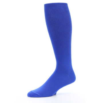Image of Royal Blue Solid Men's Over-the-Calf Dress Socks (side-2-10)