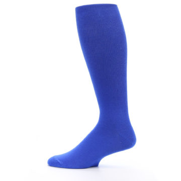 Image of Royal Blue Solid Men's Over-the-Calf Dress Socks (side-2-12)